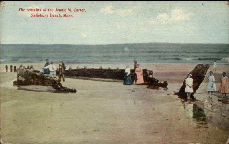 Salisbury Beach Ma Shipwreck Wreckage Of Jennie M Carter C1910 Postcard 2