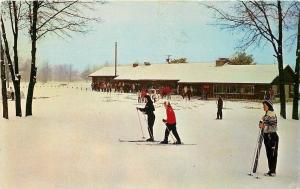 Grayling Michigan~Warming House for Snow Skiers~Girls on Skis~1958 Postcard