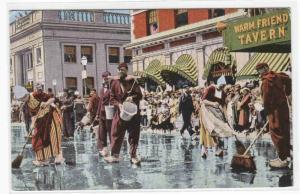 Scrubbing Up Tulip Time Parade Holland Michigan 1942 linen postcard