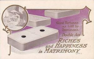 Good Fortunes Dominoes Double Ace Riches And Happiness In Marriage Embossed
