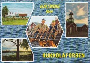 Sweden Kukkolaforsen Multi View The Border River Between Sweden and Finland S...