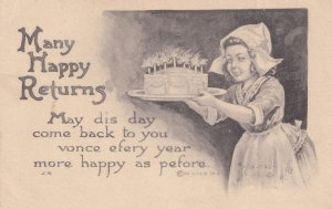 Red Riding Hood Type Child Making Made Cake Happy Birthday Antique Postcard