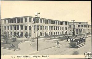 jamaica, KINGSTON, Public Buildings, TRAM (ca. 1910)