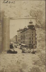 Springfield MA Main St. Trolleys c1910 Real Photo Postcard