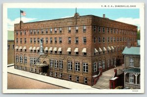 Zanesville Ohio~YMCA~Cafeteria~Flag on Roof~1940s Postcard