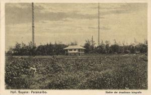 suriname, PARAMARIBO, Wireless Telegraph Station (1910s) Postcard
