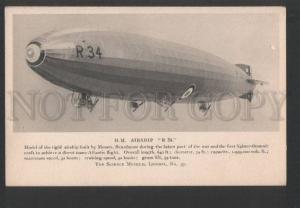 119861 WWI H.M. AIRSHIP R34 Royal Navy Vintage postcard