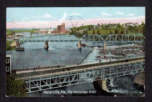 ME Vintage view Bridges Kennebec River WATERVILLE MAINE Postcard 1907 PC