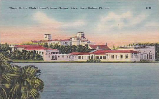 Florida Boca Raton Boca Baton Club House From Ocean Drive 1949 Artvue