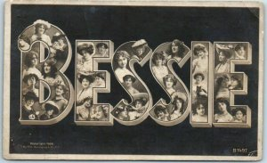 Vintage Large Letter Name RPPC Photo Postcard BESSIE w/ Girls' Faces - c1910s