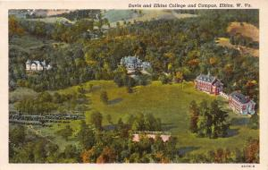 DAVIS & ELKINS COLLEGE WEST VIRGINIA AERIAL VIEW CAMPUS~TYGART NEWS POSTCARD