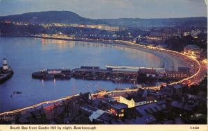 Vintage 1968 Postcard, Scarborough, South Bay from Castle Hill by Night 5T