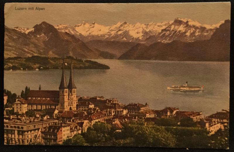 Postcard Used Lucerne mit Alpen, Switzerland LB