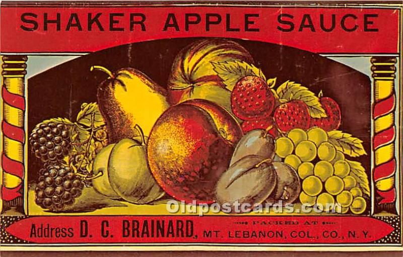 Old Vintage Shaker Post Card Apple Sauce Mount Lebanon, New York, NY, USA Unused