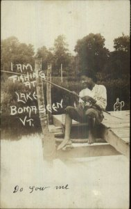 Black Americana Boy Fishing Lake Bomoseen VT Bomaseen Real Photo Postcard
