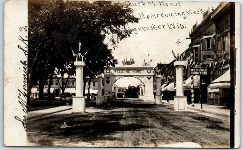 1908 Lancaster, Wisconsin RPPC Photo Postcard Court of Honor, Homecoming Week