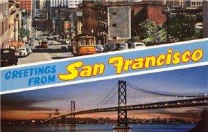 SAN FRANCISCO Oakland Bay Bridge Cable Car Chinatown c1950s Vintage Postcard