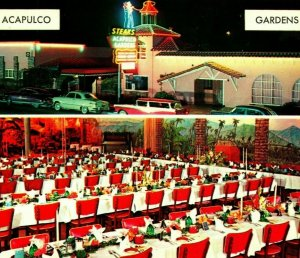 Acapulco Gardens Sign Classic Cars Int Dining Room Oceanside CA Chorme Postcard