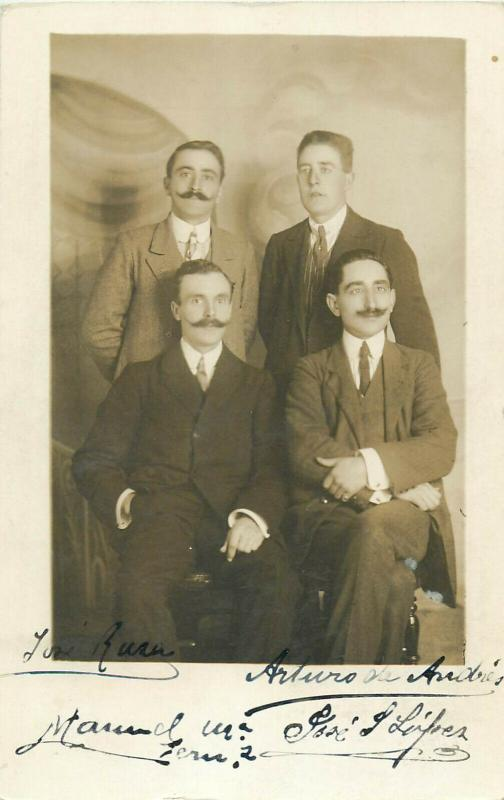 Group of men early photo postcards x 4