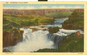 Shoshone Falls, Idaho, unused linen Postcard