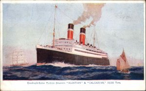 Steamship - Alsatian & Calgarian Service to Canada c1915 Postcard
