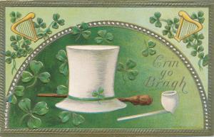 St Patricks Day Greetings Hat Pipe Harp Erin go Bragh - Pub Conwell - DB