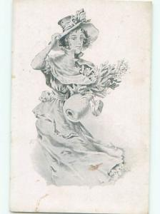 foreign Pre-1907 WOMAN HOLDING LITTLE CHRISTMAS TREE AND HAND WARMER AC2662