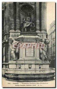 Old postcard Fontaine Molière Paris rue Richelieu