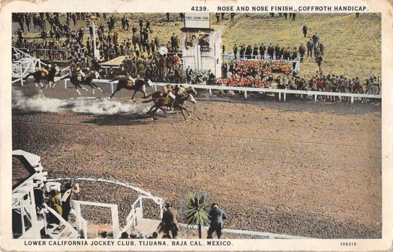 Tijuana Mexico Jockey Club Race Track Finish Line Vintage Postcard JE229433