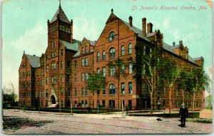 1913 Omaha, Nebraska Postcard ST. JOSEPH'S HOSPITAL Building / Street View