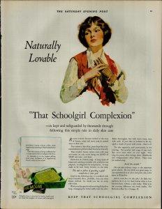 1927 Palmolive Soap School Girl Complextion Vintage Print Ad 3900