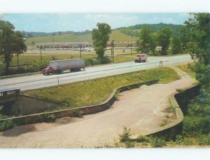 Pre-1980 VINTAGE 18 WHEELER TRUCK AT HISTORIC BRIDGE New Concord OH d3251@