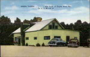 Crystal River FL Green Tavern Old Cars US 98 & 19 Postcard