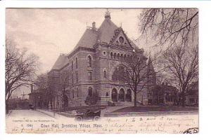 B&W Town Hall, Bookline Village, Massachusetts, Rotograph Co, Flag Cancel