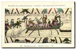 Postcard Old Bayeux Tapestry Harold Reine Mathilde is at sea