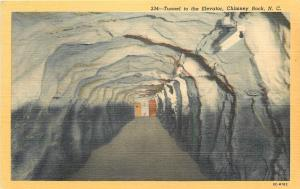 Chimney Rock North Carolina~Tunnel to the Elevator~Doors at End~1950 Linen PC