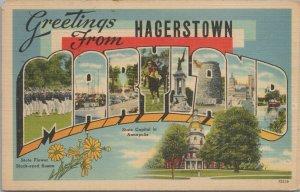 greetings from hagerstowm vintage postcard