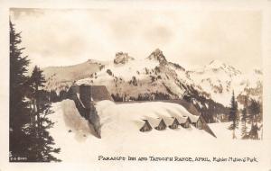 Rainier National Park Washington~Paradise Inn~Tatoosh Mountain Range~c1930 RPPC