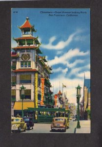 CA Chinatown China Town San Francisco California Postcard Grant St Linen PC