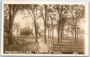 Fairfield, Iowa RPPC Real Photo Postcard PARSONS COLLEGE Campus Scene c1910s