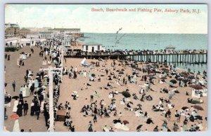 1909 ASBURY PARK NEW JERSEY NJ BEACH BOARDWALK & FISHING PIER CROWD SCENE