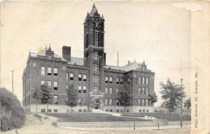St Joseph Missouri~High School Building & Grounds~Small Trees in Front~1908 PC