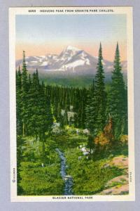 Heaven's Peak from Granite Park, Glacier Park, unused linen Postcard