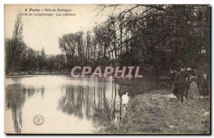 Old Postcard Bois de Boulogne Paris Porte de Longchamps lower Lake