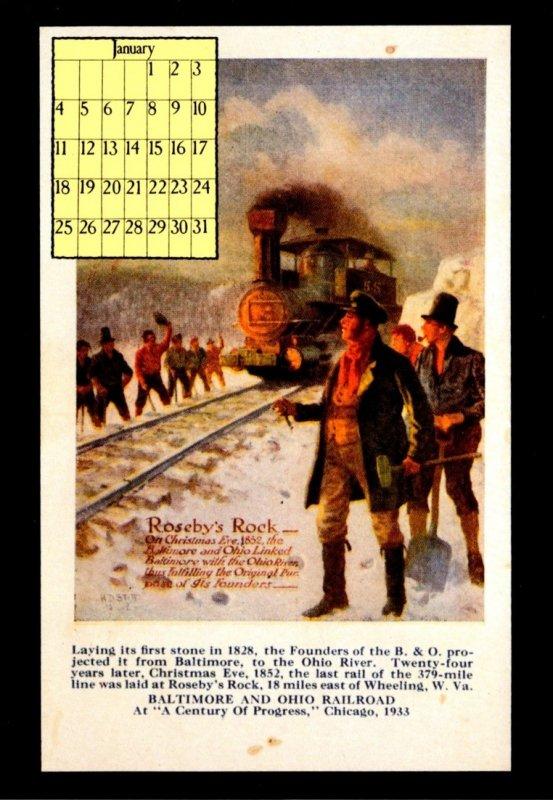 1987 Calendar Series January Baltimore & Ohio Railroad