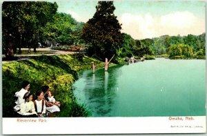 Omaha, Nebraska Postcard RIVERVIEW PARK Children at Water's Edge c1900s UNUSED