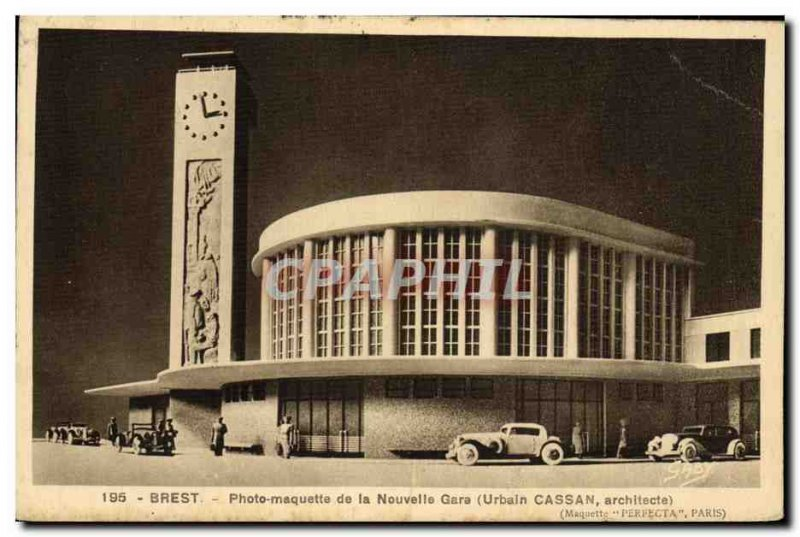 Postcard Old Brest Photo Marquette New Station