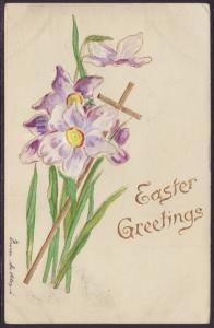 Easter Greetings,Flowers,Cross