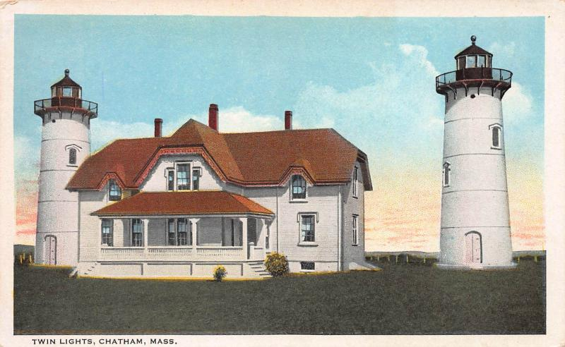 Twin Lights, Chatham, Massachusetts, Early Postcard, Unused