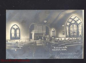 RPPC NEVADA IOWA METHODIST EPISCOPAL CHURCH INTERIOR REAL PHOTO POSTCARD